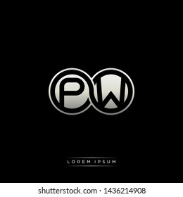 PW P W initial letter linked circle capital monogram logo modern template silver color edition