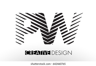 PW P W Lines Letter Design with Creative Elegant Zebra Vector Illustration.