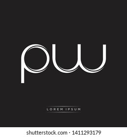 pw p w logo Initial Letter Split Lowercase Modern Isolated on Black White