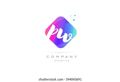 pw p w  pink blue rhombus abstract 3d alphabet company letter text logo hand writting written design vector icon template