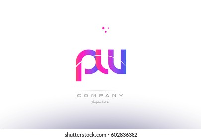 pw p w  pink purple modern creative gradient alphabet company logo design vector icon template