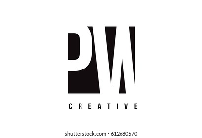 PW P W White Letter Logo Design with Black Square Vector Illustration Template.