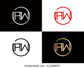 Pw text red gold black silver modern creative alphabet  letter logo design vector icon