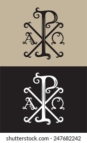 PX and alpha omega, art vector sign and symbol font decoration
