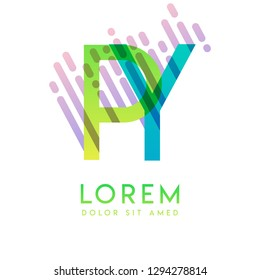 PY logo with the theme of galaxy speed and style that is suitable for creative and business industries. YP Letter Logo design for all webpage media and mobile, simple, modern and colorful