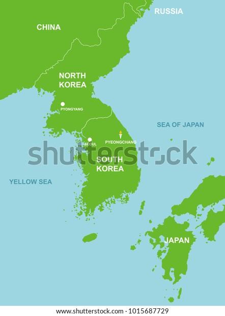south korea map pyeongchang Pyeongchang South Korea Surrounding Countries Map Stock Vector