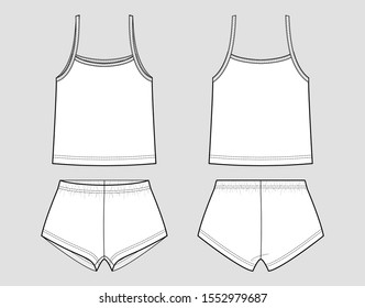 Pyjamas female vector template. Tank top and briefs (lingerie). Front and back view. Outline fashion technical sketch of apparel.
