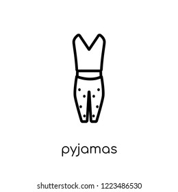 pyjamas icon. Trendy modern flat linear vector pyjamas icon on white background from thin line Pyjamas collection, outline vector illustration