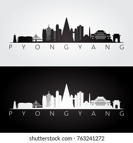 Pyongyang skyline and landmarks silhouette, black and white design, vector illustration.