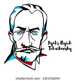 Pyotr Ilyich Tchaikovsky engraved vector portrait with ink contours. Russian composer of the romantic period, whose works are among the most popular music in the classical repertoire.