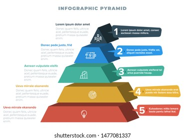 Pyramid 3D info chart graphic for business design. Reports, step presentations in cone shape with icons and description beneath. - Vector EPS