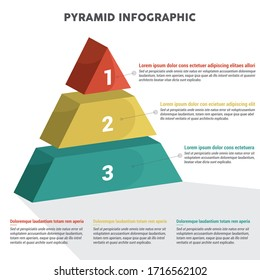 Pyramid 3D info chart graphic for business design. Reports, step presentations with description. - Vector EPS