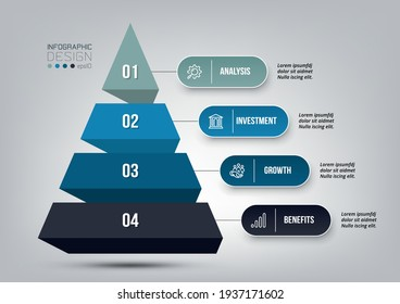 Pyramid 4 step process work flow infographic template.