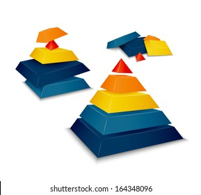 Pyramid assembled, disassembled and as parts vector illustration