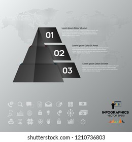 Pyramid black chart infographics with 3 elements, vector eps10 illustration on the grey background.Eps 10 vector file.
