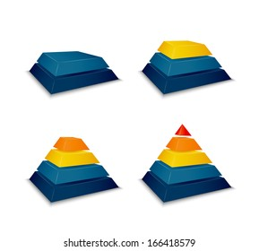 Pyramid building progress concept vector illustration