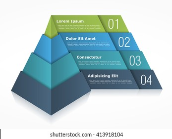 Pyramid chart with four elements, pyramid infographics template, 3d pyramid, vector eps10 illustration