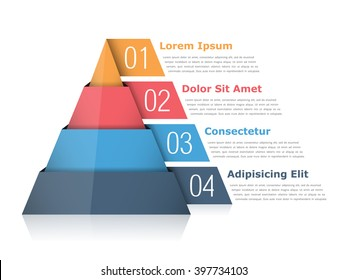 Pyramid chart with four elements with numbers and text, pyramid infographic template, vector eps10 illustration