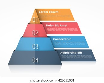 Pyramid chart with four elements with numbers and text, pyramid infographic template, pyramid diagram for presentations, vector eps10 illustration