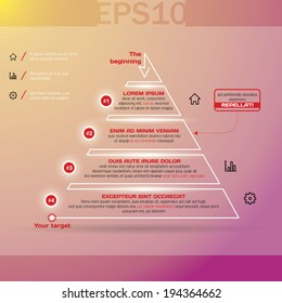 Pyramid chart with four options. Vector illustration EPS10.