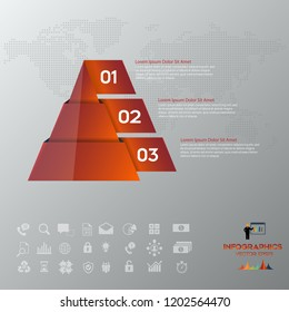 Pyramid chart infographics with 3 elements, vector eps10 illustration on the grey background.Eps 10 vector file.