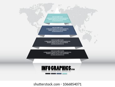 Pyramid chart template, pyramid infographics, for business presentation with four options infographics, vector  illustration eps.10
