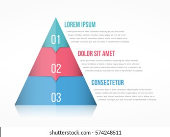 Pyramid chart with three elements with numbers and text, pyramid infographic template, vector eps10 illustration