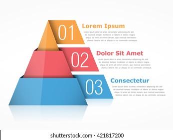 Pyramid chart with three segments, vector eps10 illustration