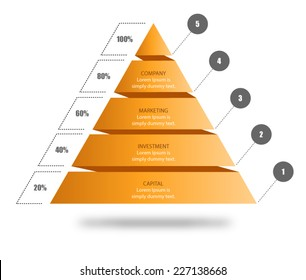 Pyramid Chart Vector for your business presentation to visualise data, shape showing five stages in hierarchy. Download this pyramid vector and input your own text.
