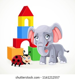 Pyramid of cubes, baby elephant and ladybug toys on a white background