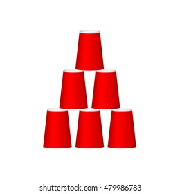Pyramid of cups in red design