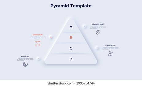 Pyramid diagram with four layers. Concept of 4 levels of development, progress or growth process. Neumorphic infographic design template. Modern clean vector illustration for business presentation.