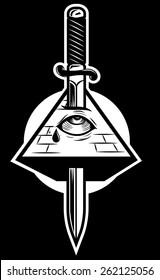 Pyramid with eye killed by sword. New world order. Mason symbol