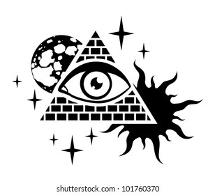 pyramid with the eye, the moon, sun and stars