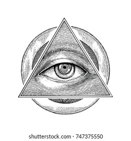 Pyramid of eye with vintage circle hand drawing engraving style
