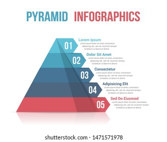 Pyramid with five segments, infographic template for web, business, reports, presentations, etc, vector eps10 illustration