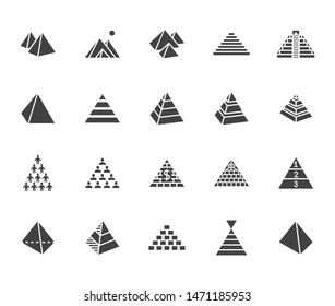 Pyramid flat glyph icon set. Egyptian monument, abstract process infographic, ponzi scheme, network marketing, leader concept vector illustrations, signs. Silhouette pictogram.
