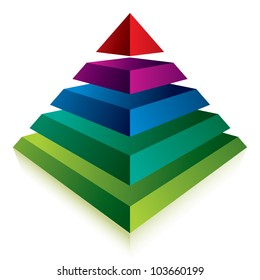 Pyramid icon with five layers, vector business concept icon.