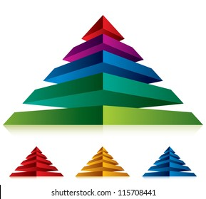 Pyramid icon with five layers, vector business concept icon. Set of color versions.