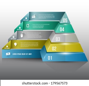 Pyramid with icons long shadows for business concept. can use for planing, education diagram,data flow, marketing plan, brochure object, business element.