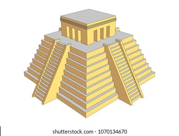 Pyramid illustration resembling mayan or aztec style. Mesoamerican religious building where human sacrifices was offered to gods