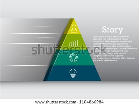 pyramid infographic 3 d presentation vector eps 10 stock vector