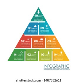 Pyramid infographic chart template. vector illustration
