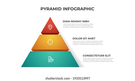 Pyramid infographic element template with 3 list and icons, layout vector for presentation, banner, brochure, flyer, report, etc.