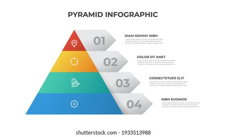 Pyramid infographic template with 4 list and icons, layout vector for presentation, report, brochure, flyer, etc.
