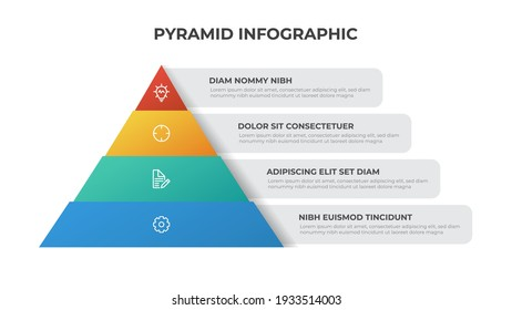 pyramid infographic template with 4 list, multipurpose layout vector for presentation, banner, brochure, flyer, etc.