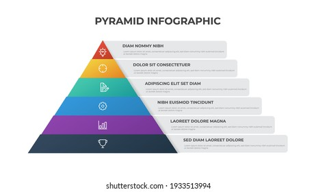 Pyramid infographic template with 6 list, multipurpose layout vector for showing proportional, interconnected, or hierarchical relationships