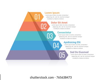 Pyramid infographic template with five elements, vector eps10 illustration