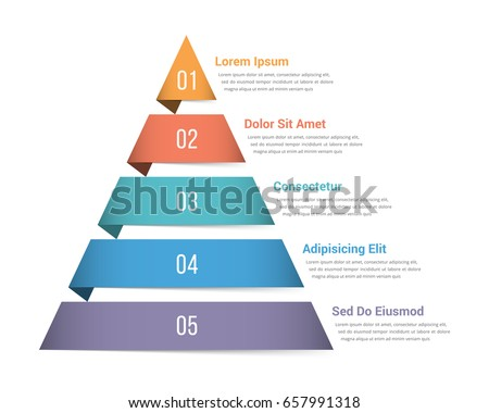 pyramid infographic template five elements vector のベクター画像