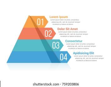 Pyramid infographic template with four elements, vector eps10 illustration